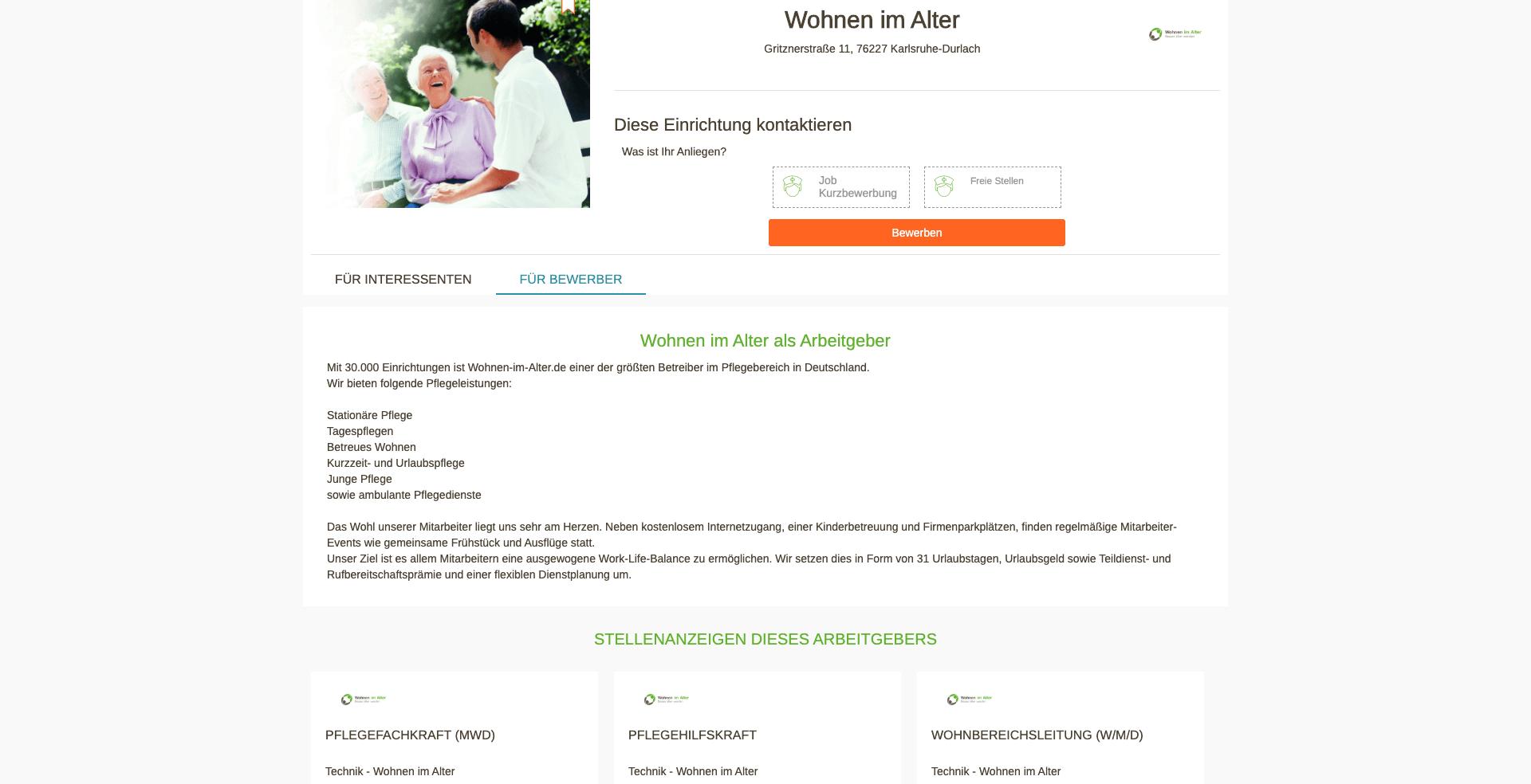 Arbeitgeberprofil auf Wohnen-im-Alter.de